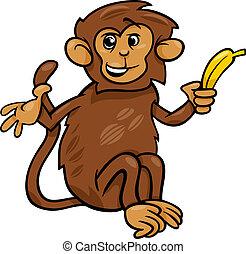 banana, cartone animato, illustrazione, scimmia