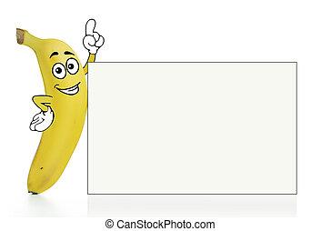 Banana cartoon character with a plain white board