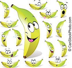 banana cartoon with many expressions isolated on white...