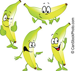 banana cartoon isolated on white background