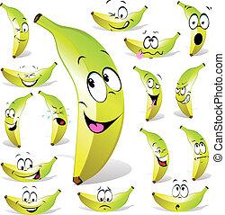 banana cartoon with many expressions isolated on white ...