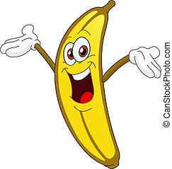 Cheerful Cartoon banana raising his hand