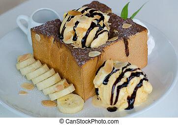 Banana Chocolate Honey Toast with Ice Cream