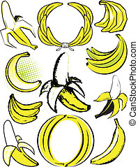 Banana Collection - Clip art of various styles and shapes of...