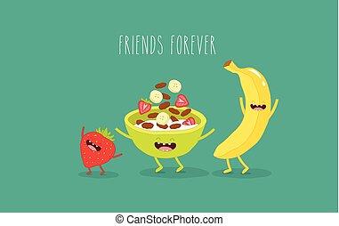 Banana, corn flakes and strawberries - Animated banana, corn...