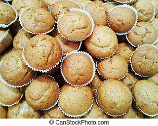 banana cup cake on background.