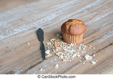 Banana cup cake on the table