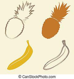 banana, e, ananas, icone, -, vettore, illustrazione