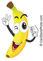 banana - illustration of banana on a white background