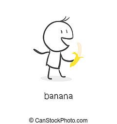 banana., eteti magát, ember