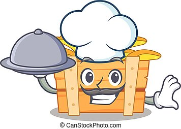 banana fruit box as a chef cartoon character with food on tray