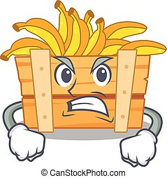 banana fruit box cartoon character design with angry face