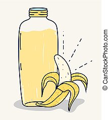 Banana fruit juice cartoon