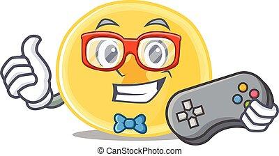 banana, gamer, caricatura, smiley, lascas, estilo, mascote