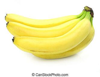 banana gialla, frutte, gruppo, isolato, cibo, bianco