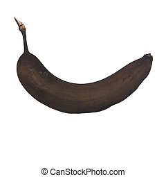 Banana gone bad against a white background.