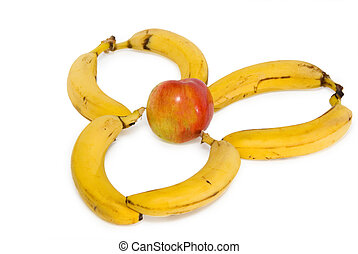 Banana group and apple isolated on the white background
