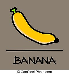 banana hand-drawn style,Vector illustration.