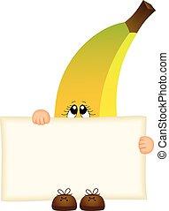 Banana holding a blank sign