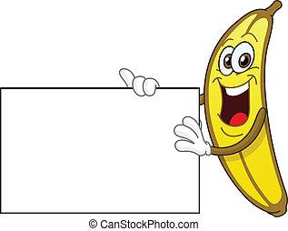 Banana holding a sign - Cheerful banana holding a sign