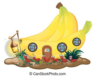 Banana house with red ants marching outside illustration