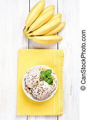 Banana ice cream and fruits