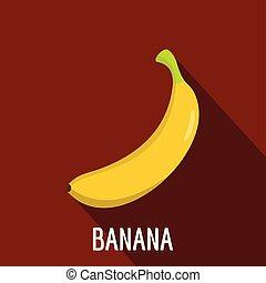 Banana icon, flat style