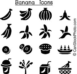 Banana icon set in thin line style