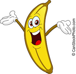 Banana - Cheerful Cartoon banana raising his hand