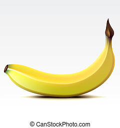 Banana - Yellow banana on a white background