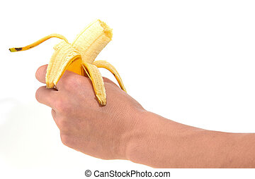 banana in hand for eat on a white background.