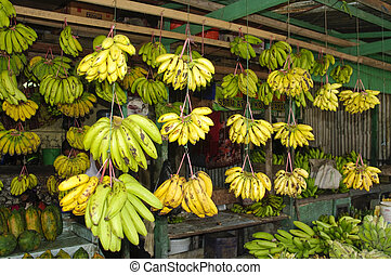 Banana in the market. Indonesia