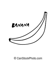 Banana isolated on a white background in the Doodle style.