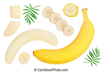 banana isolated on white background . Top view. Flat lay.