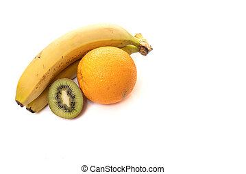 Banana, kiwi, and orange isolated on white background