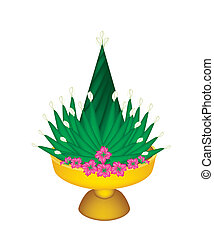 Banana Leaf for Rituals Decorated on Tray with Pedestal