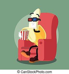 banana man eating popcorn while wat