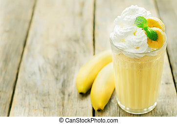 banana milkshake with whipped cream