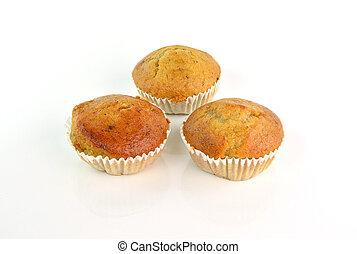Banana muffin cake on white background