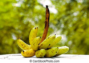 banana on table with the light green blur background