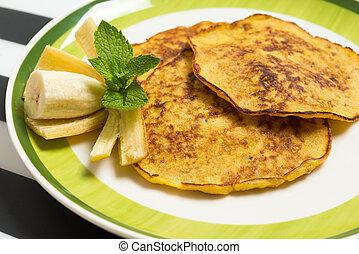 Banana pancakes closeup