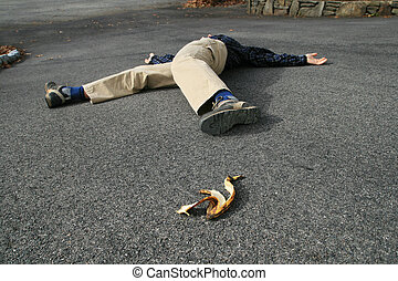 banana peel accident - a man who had an accident when he...