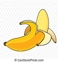 Banana peel cartoon on white with gray spots