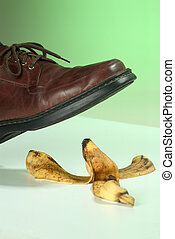 Banana peel - Foot occurs a banana peel.