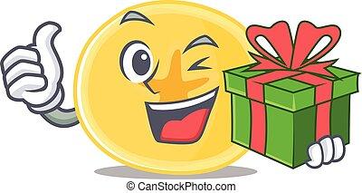 banana, personagem, smiley, caixa, lascas, presente