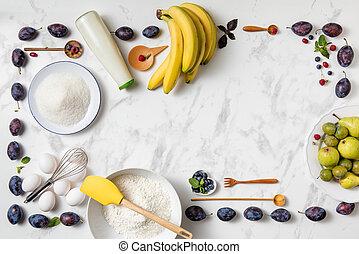 banana pie ingredients on white background.