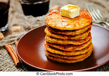 Banana Pumpkin Pancake with butter and maple syrup. toning....