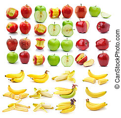 banana , Red ripe and green apple isolated on white background