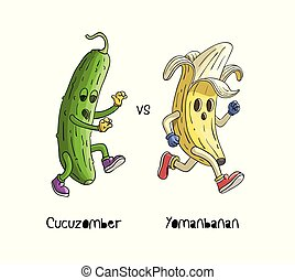 Banana run from zombie cucumber.