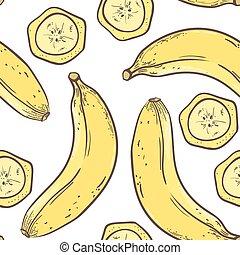 Banana seamless pattern in vector